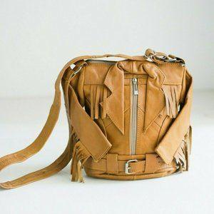 Vintage Honey Leather Motorcycle Fringe Jacket Bag